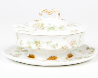 Haviland Limoges  Mustard Bowl with Lid and Attached Underplate, Antique, Vintage