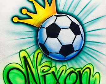 Airbrush Soccer Ball, Airbrush Crown and Soccer ball, Airbrush Soccer