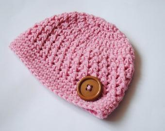 Pink Newborn Crochet Hat, Newborn Beanie, Crochet Baby Hat, Baby Girl Hat, Crochet Hospital Hat, Baby Beanie, Coming Home Hat