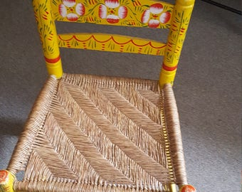 Adult Hand Painted Folk Art Mexican Chair. Local Pick-up