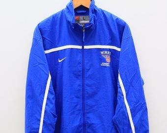 Vintage NIKE Woman's Basketball Small Logo Sportswear Blue Windbreaker Jacket Size L