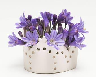 Handmade Ceramic Tealight holder-  Contemporary Porcelain - Home Decor - Birthday Gift - Studio Pottery UK - Barbara Pianca Design