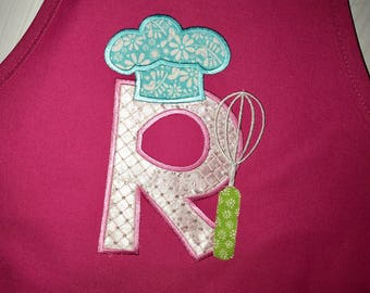 Personalized kids apron, letter R Monogram Appliqué- chefs hat and whisk