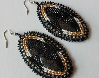 Fashionable Handmade Earrings. Black Jewelry. Gifts for Her. Unique. Beaded. Rhinestone.