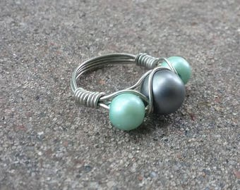 Silver Wire Wrapped Beaded Ring