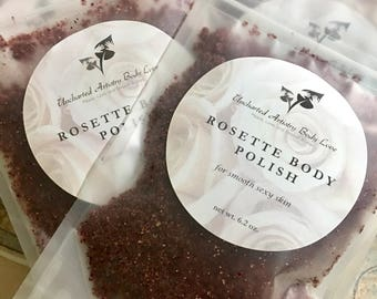 Rosette Body Polish- Organic Sugar Scrub, Organic Hibiscus Scrub , Natural Body Scrub, Rose and Hibiscus Sugar Scrub, 6.2 oz