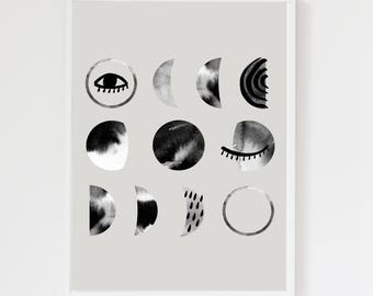 Luna Moon Phases Cool Grey Art Print