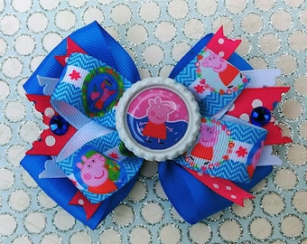 Peppa Pig Snap Stack hair Bow Headband Preschool Animal Polka Dot