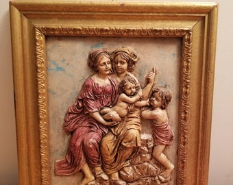 Vintage Wall Decoration  Wooden handmade picture in frame