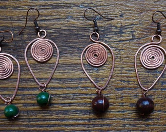 Ethnic earrings / inverted Teardrop / coiled brass & wood