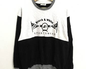 RARE!!!! Black & White Sportwear Big Logo Embroidery SpellOut Crew Neck Raglan Colour Sweatshirts Hip Hop Swag L Size