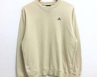 RARE!!! Adidas Equipment Small Logo Embroidery Crew Neck Cream Colour Sweatshirts Hip Hop Swag L Size