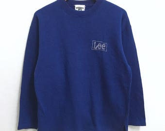 RARE!!! Vintage LEE Small Logo Embroidery Crew Neck Blue Colour Sweatshirts Hip Hop Swag M Size