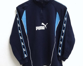 RARE!!! PUMA Big Logo SpellOut Half Zipper Dark Blue Colour Sweatshirts Hip Hop Swag 160 (Boys) Size