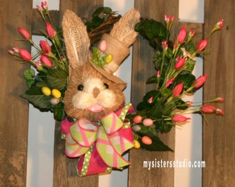Bunny with Tulips Grapevine Wreath