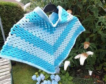 Childs Crochet Poncho - Poncho - Crochet Poncho - Childs Poncho - Blue Poncho