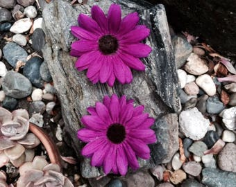 Magenta Small Daisy Silk Flower Hair Clips - sold in set of two