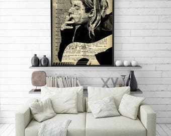 Poster Kurt cobain Music band poster nirvana poster Wall art