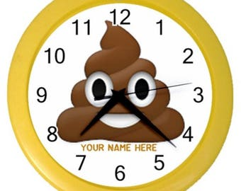 Personalized your wall clock POOP emoji kids wall bedroom clock text customize it wall decor