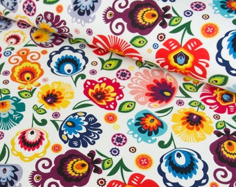 Cotton fabric, flower cotton fabric, colorful fabric for home decorations, cotton fabric zard, slavic decorations, flowers patter fabric