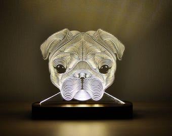 Pug Gift Personalized, 3D Night Light Pug, Pet Gift, Dog Gift, Bedroom Light, Christmas Gift Ideas, Desk Lamp, Night Light, Dog Lover Gift