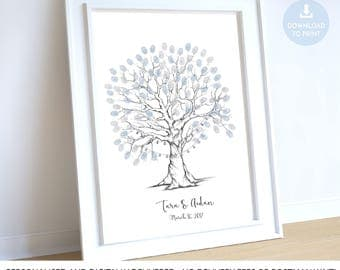 wedding tree guest book, fingerprint tree fairy lights, wedding tree printable, fingerprint tree printable,  fingerprint tree lanterns bulbs