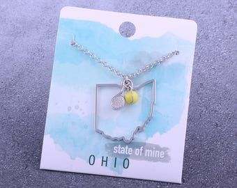 Customizable! State of Mine: Ohio Tennis Racket Necklace - Great Tennis Gift!