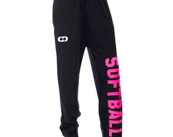 Softball Logo Sweatpants, Black - 6 Print Colors, Free Shipping! Great Softball Gift!