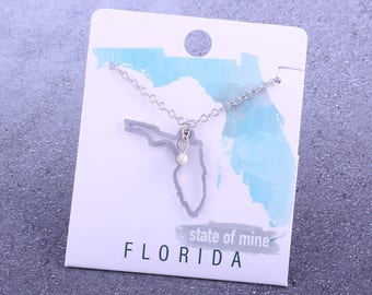 Customizable! State of Mine: Florida Silver Necklace - Great Gift!