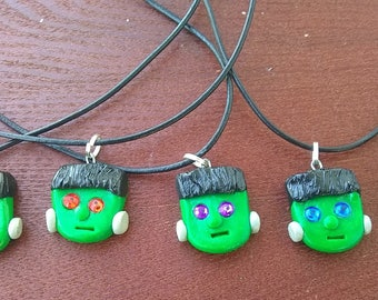 Frankenstein Necklaces, Halloween, jewelry, handmade, polymer clay