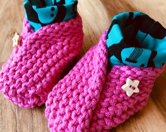 Baby Shoes in Bright Pink with a Guitar Print Cuff Hand Knitted Organic Cotton
