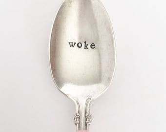 Woke - Hand Stamped & Painted Vintage Silver Spoon in Soft Pink