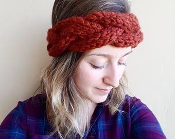 Chunky Cabled Twist Headband, knit headband, knit earwarmer, chunky headband, chunky earwarmer, cable headband, braided headband