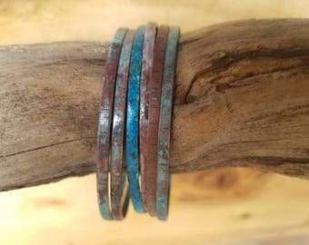 stacking bangles, copper bangles, turquoise bangles, rustic weathered patina copper bangles, earthy bracelet