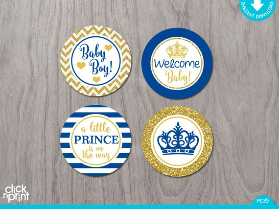 Prince Baby Shower Royal Blue And Gold Glitter Print Yourself