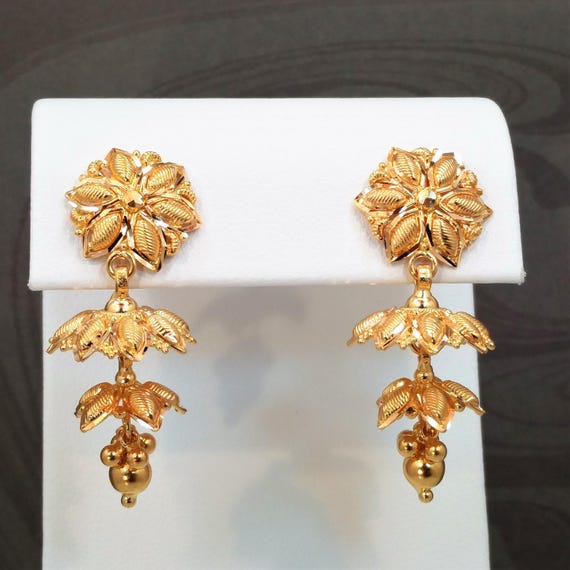GOLDSHINE Chandelier Jhumka Earrings 22K Solid Yellow Gold