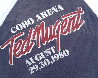 "Rare 1980 Ted Nugent ""Monsters of Rock"" Concert at Cobo Arena / Vintage t-shirt / Large"