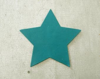 large star 9 cm leather thin teal for design and customization