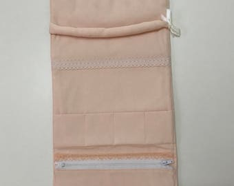 Peach jewellery roll