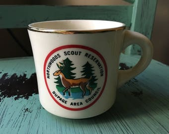 Vintage Boy Scouts Northwoods Scout Reservation Souvenir Coffee Mug - Dupage Area Council - Made in the USA - Michigan Crossroads Council