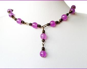 Purple jade necklace + earrings bronze metal