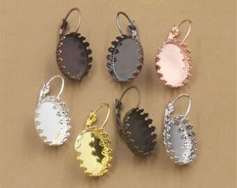 20pcs Round Brass Earring Blanks Cabochon Settings Bezel Earrings Earring Components Light Coat Jewelry