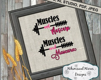 Muscles and Mascara digital download .studio3 file svg eps ai pdf files all included