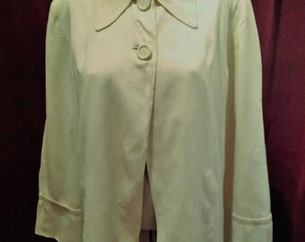 1940s / 50s Gaberdine Ladies Swing Jacket /  Yellow Vintage Rayon Jacket