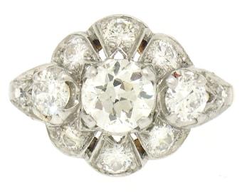 Antique Art Deco 14K & Platinum GIA 2.5ctw Old European Cut Diamond Cluster Ring