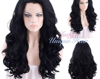 Long Curly Wavy Jet Black Lace Front Wig Heat Resistant
