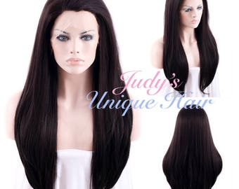 Long Straight Dark Brown Lace Front Wig Heat Resistant