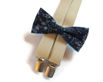 navy/wedding/set/for/ring bearers/outfits/tiny/blue/blossoms/bow tie/sand/suspenders/set/for/boys/beige/braces/groomsmen/wedding/set/groom