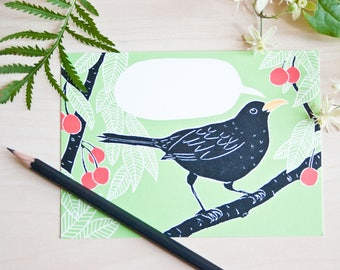 Postcard blackbird to label yourself, cherries, bird illustration, greeting card, illustration, writable, green red black, postcard