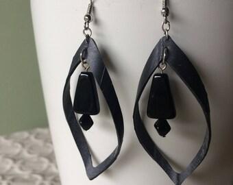 Black boho loop earrings, black beads, rubber earring, bike inner tube earring, vegan leather, statement earring, upcycled rubber